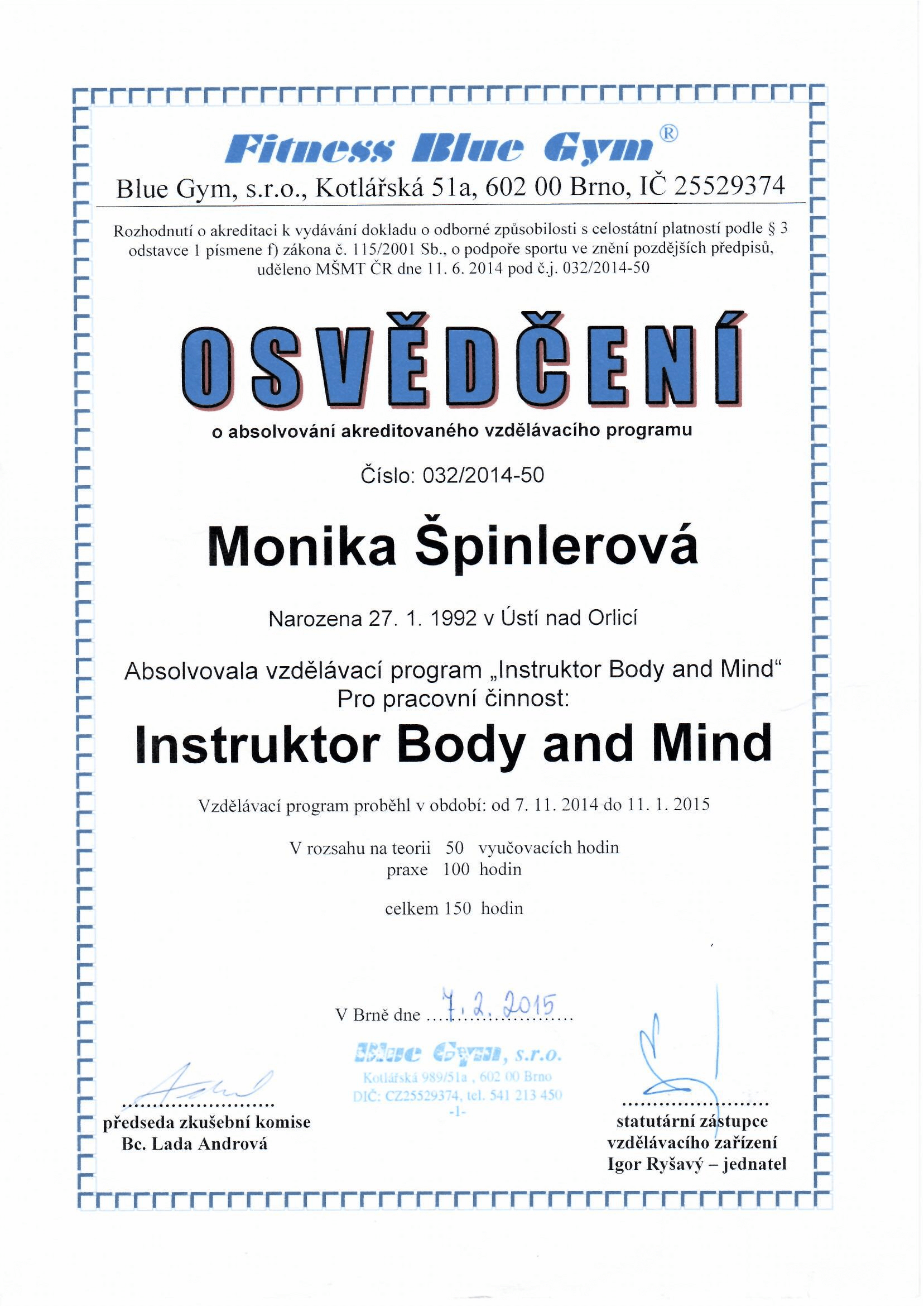 Blue Gym - Instruktor Body and Mind
