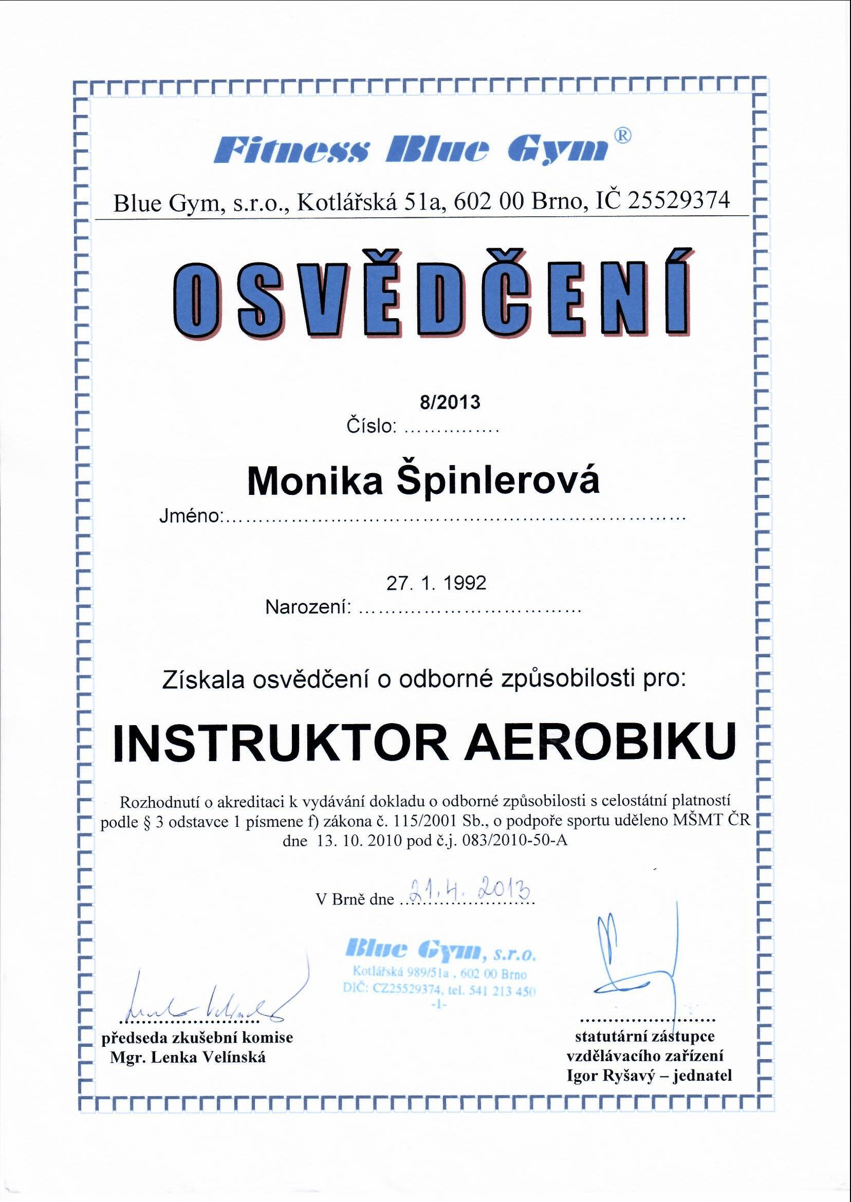 Osvědčení odborné způsobilosti Instruktor aerobiku