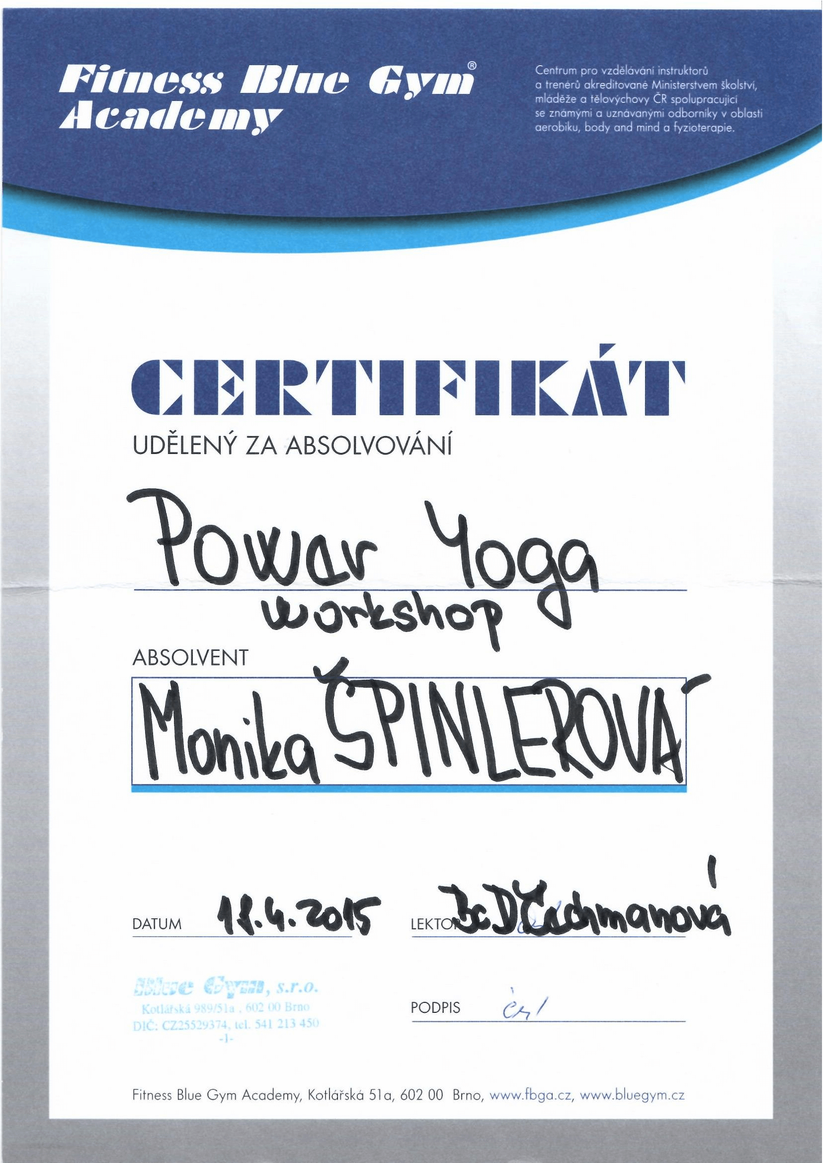 Certifikát Power Yoga