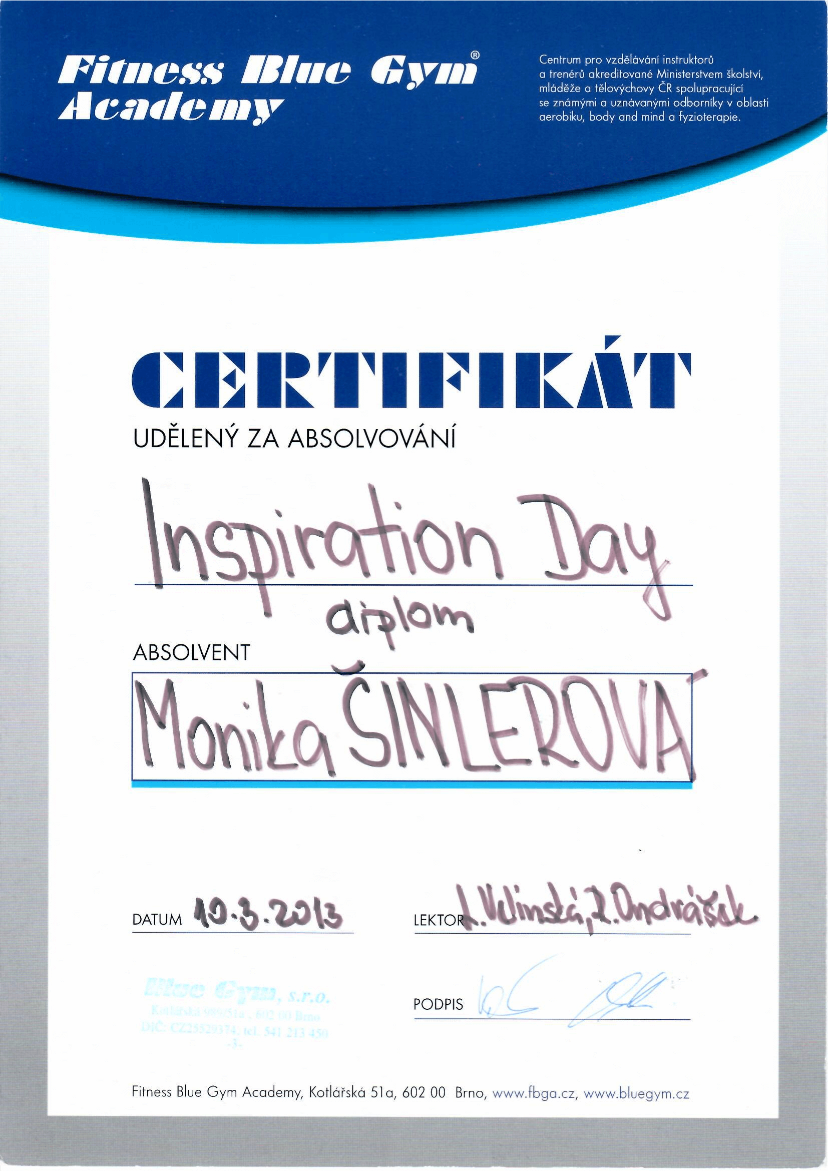 Certifikát Inspiration Day