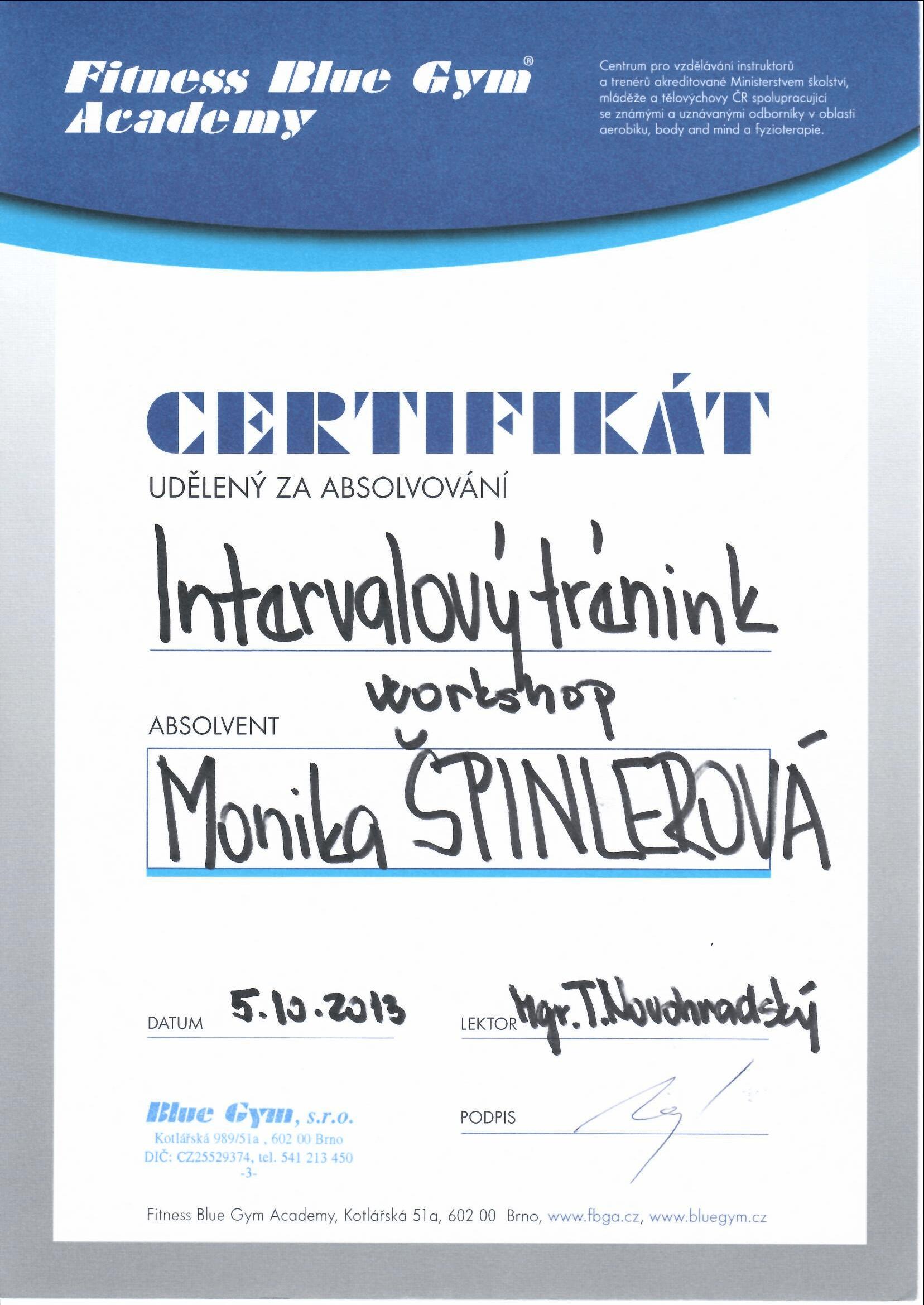 Certifikát intervalový trénink