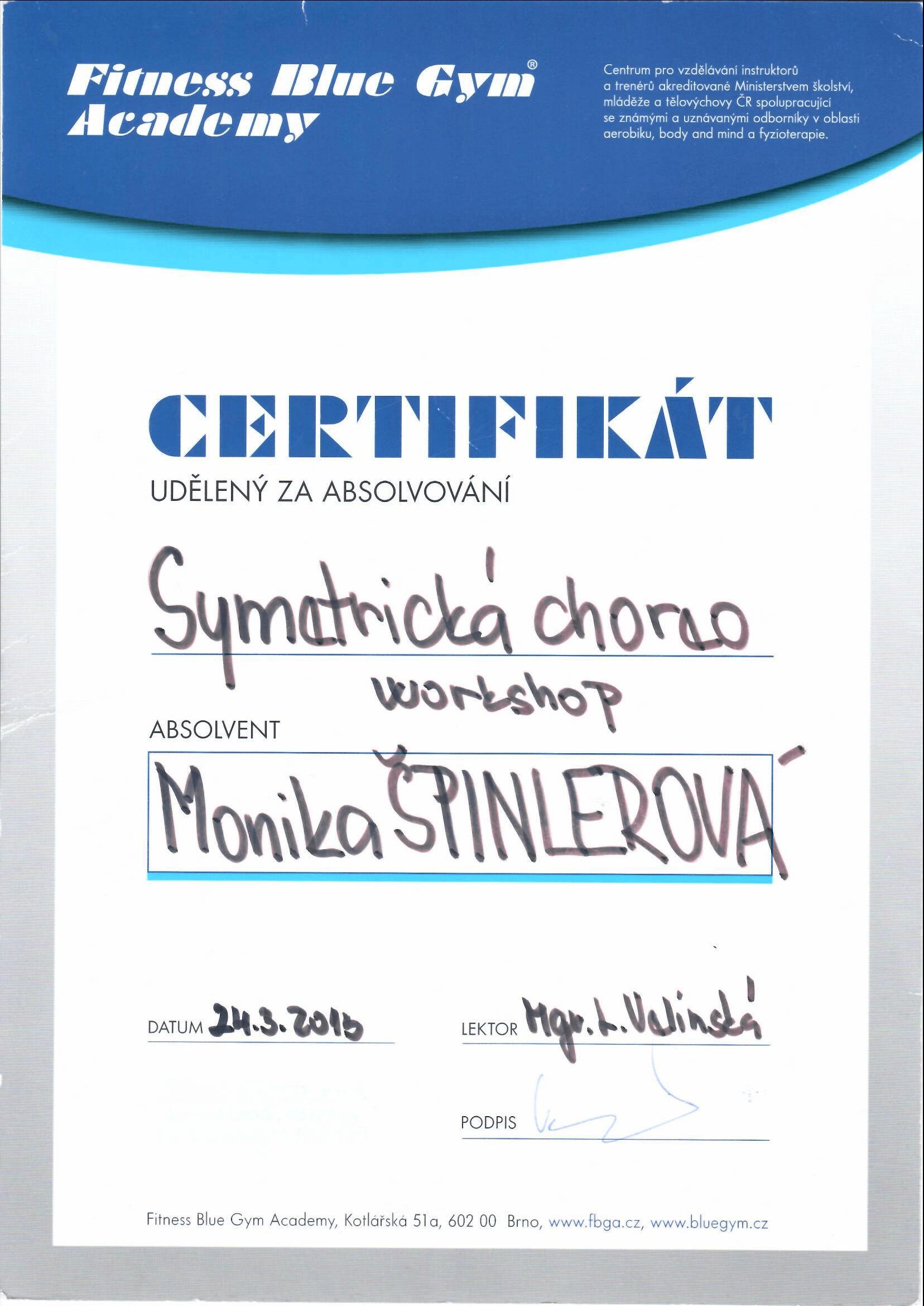 Certifikát Symetrická choreo