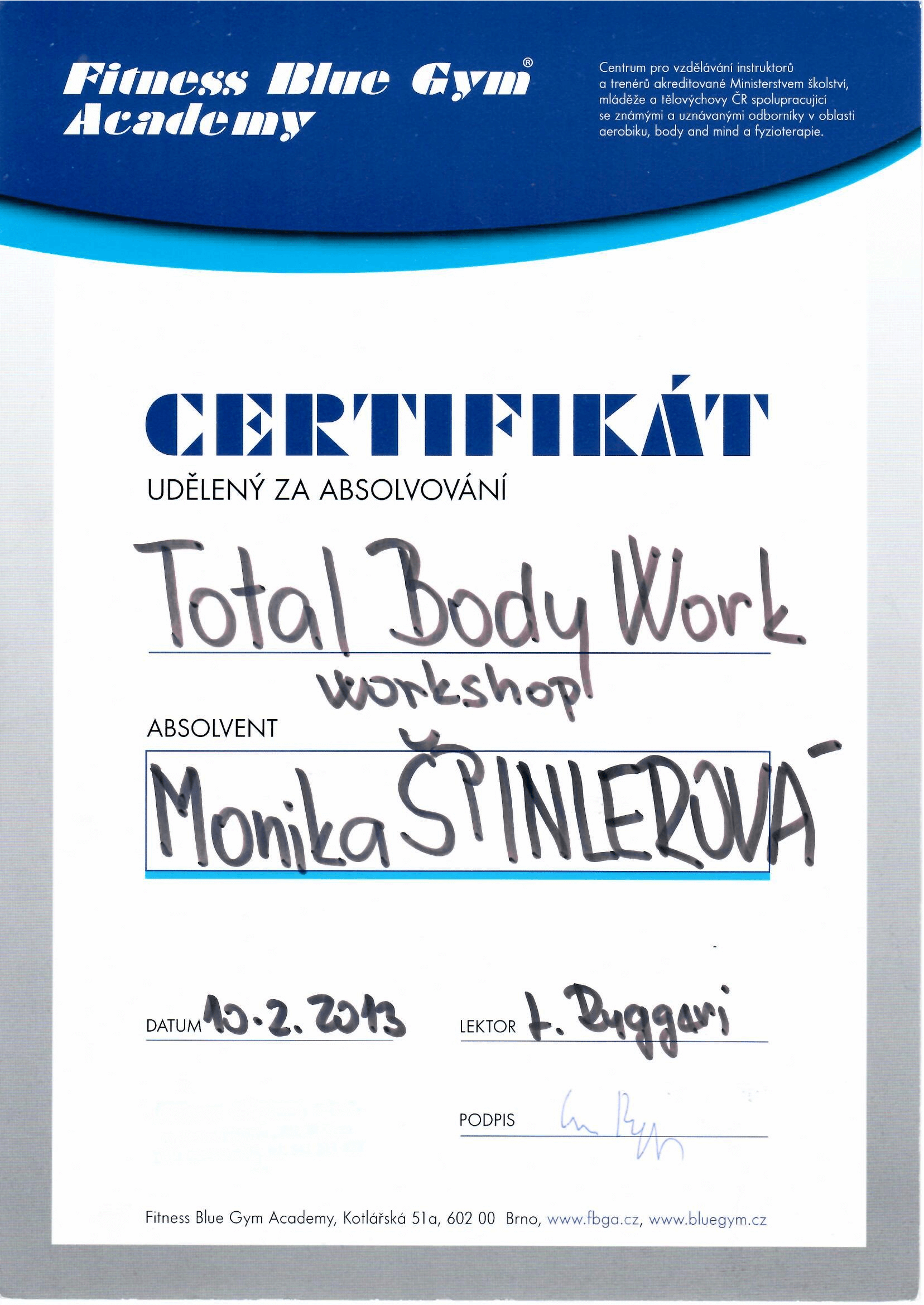 Certifikát Total Body Work